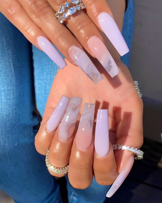 Long lavender lilac coffin acrylic nails