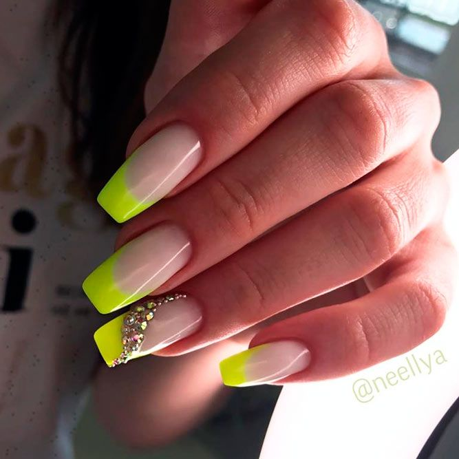Neon Yellow French Coffin Nails