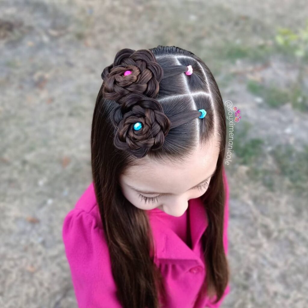 Cornrows and 2 curved lace braids to the low side ponytail
